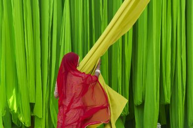 Usine de sari, Rajasthan, Inde