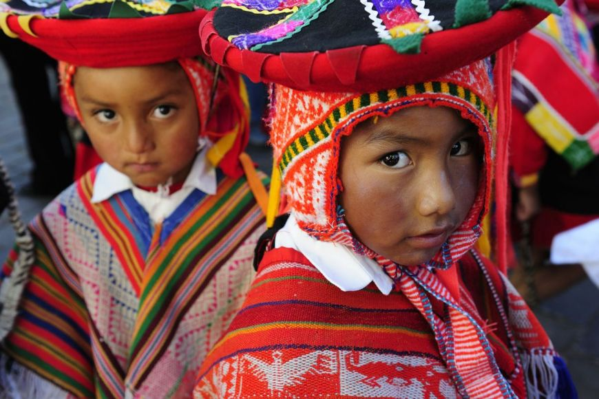 Children in traditional costume, Cuzco, Peru