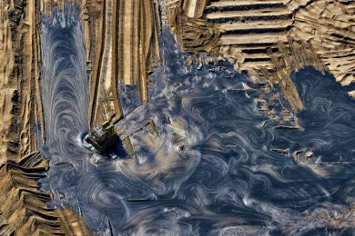 Oil residue landfill in Alberta, Canada